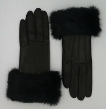 COACH Womens Leather Gloves Black Cashmere Lined Rabbit Fur Cuff Winter F83731