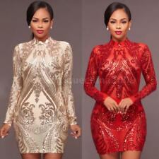 Women's Dress Plus Size Sexy Long Sleeve Sequined Bodycon Cocktail Party X6R5
