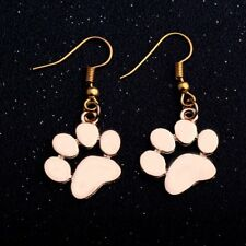 Fashion Silver Gold Dog Cat Pet Paws Print Charms Hook Earrings Women Jewelry