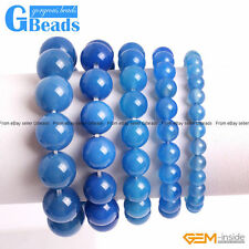 """Handmade Natural Stone Blue Agate Beaded Stretchy Bracelet Free Shipping 7"""""""