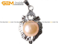 9-10mm Pearl Bead White Gold Plated Leaf Frame Jewelry Pendant Christmas Gift