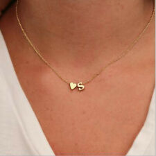Hot Gold Silver Plated Initial Alphabet Letter A-S Heart Pendant Chain Necklace