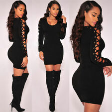 New Women Lace Up Long Sleeve Bodycon Casual Party Evening Cocktail Mini Dress