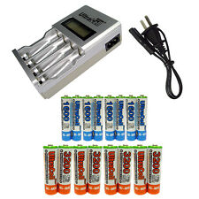 8 AA AAA Ultracell 1600 3200mAh NiMH 1.2V Rechargeable Battery US LCD Charger