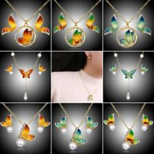 Butterfly Crystal Pearl Pendant Necklace Earrings Wedding Bridal Jewelry Set New