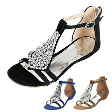 Ladies New Shoes Womens Party Strappy Wedges Heels Flats Sandals AU 1-11.5
