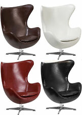 ARNE JACOBSEN STYLE EGG CHAIR MID-CENTURY 'LEATHER-SOFT' BLACK BROWN RED WHITE