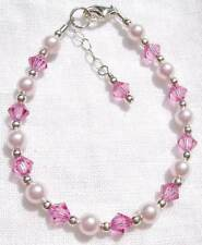 Newborn Baby Child Girl Bracelet: Pearl Crystal Sterling Silver made w Swarovski