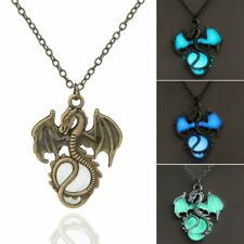 Vintage Bronze/Silver Glow In The Dark Dragon Pendant Necklace Luminous Gift New