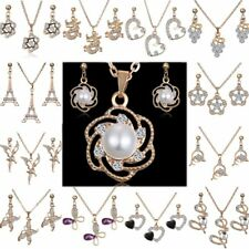 Crystal Pearl Flower Butterfly Dragon Necklace Earrings Jewelry Set Wedding Gift