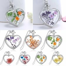 Natural Dried Flower Heart Shape Glass Locket Chain Pendant Necklace Jewellery
