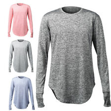 Tops Men Round Neckline Long Sleeve Cuff Thumb Hollow Out Solid T-Shirt F1408