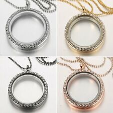 30MM Full Crystal Living Memory Floating Locket Charms Glass Necklace Pendant