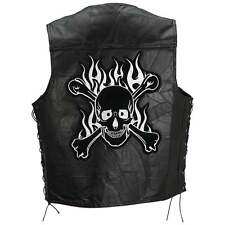Vest MEN'S BLACK Leather Motorcycle Diamond Plate Rock Genuine Buffalo MULTI SZ
