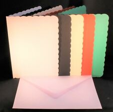 A5  SCALLOP EDGED CARD BLANKS & C5 WHITE 120GSM ENVELOPES  ASSORTED COLOURS