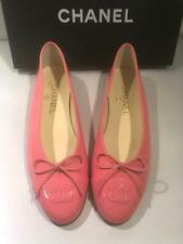CHANEL 16C Patent Leather Cap Toe Bow Ballerina Ballet Flats Shoes Pink $750
