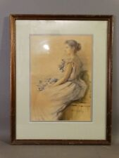 Antique WATERCOLOR Old LADY & FLOWERS Wedding BRIDE PORTRAIT W.C. Colby PAINTING
