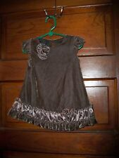 Isobella & Chloe,girls specialty rose brown velvet crafted dress,size 12 months