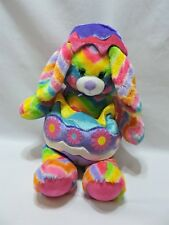 "Build A Bear Bunny Rabbit Plush 16"" Wearing Egg Outfit Toy Chevron Rainbow BABW"