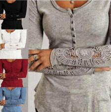 Womens Lace Long Sleeve Shirt Casual Blouse Loose Cotton Tops T-Shirt S-2XL