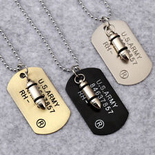 Men Military Army Bullet Charm Dog Tags SINGLE EMBOSSED Pendant Chain Necklace