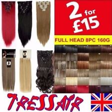 "Hair Extensions Full Head 18"" 22"" Brown Blonde Red Real Long Curly Straight"