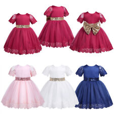 Kids Baby Girls Sequined Short Sleeves Party Flower Tulle Tutu Casual Dresses