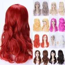 Hot Women Long Ombre Hair Wig Natural Layer Wavy Full Head Wigs Cosplay Party Hx