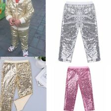 Cute Girls' Colorful  Sparkle Sequin Skinny Leggings Casual Kid's Pants Trousers