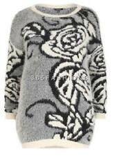 SAMYA PLUS SIZE MOHAIR EFFECT ABSTRACT FLORAL PRINT KNITTED PULLOVER JUMPER GREY