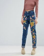NEW GLAMOROUS @ TOPSHOP FLORAL EMBROIDERED DENIM JEANS BOHO FESTIVAL LOOK CHIC