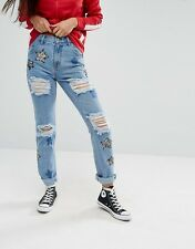 NEW GLAMOROUS @ TOPSHOP SEQUIN STAR EMBROIDERED DENIM JEANS BOHO FESTIVAL LOOK