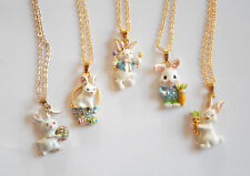 """Easter Bunny Pendent Necklaces / 18"""" Gold-tone Chain / 5 Choices / Easter Rabbit"""