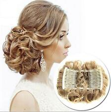 Sexy Wave Curly Combs Clip In Hair Bun Chignon Piece Updo Cover Hair Extension