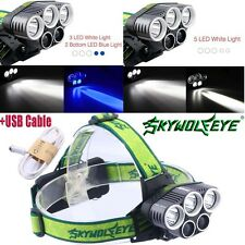 5X LED T6 LED Headlamp USB Rechargeable Headlight 80000Lumen 18650 Hiking Torch