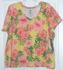 PALM HARBOUR KNIT TOP SHIRT SIZE PM-PXL-1X YELLOW PINK GREEN FLORAL STRETCH NWT