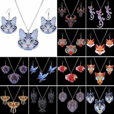 Vintage Printing Cat Owl Tiger Elephant Pendant Necklace Earrings Jewelry Set
