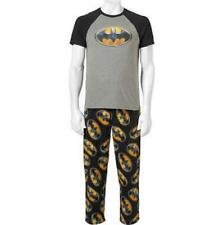 NEW MENS DC COMICS BATMAN 2 PIECE PAJAMAS PJS SLEEP SET PANTS SHIRT SIZE L M