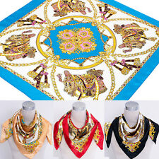 Women's Square Imitated Silk Satin Carriage Chain Neck Head Scarf Shawl Pretty