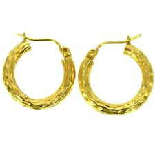 FINE ESTATE GOLD HOOP EARRINGS 14K YELLOW GOLD VINTAGE BRIGHT HAMMER FINISH