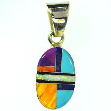 TURQUOISE SUGILITE LAPIS VIVID OPAL MULTI GEM INLAY PENDANT STERLING SILVER OVAL