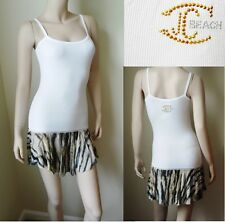 NWT Roberto Cavalli Just Cavalli White ribbed dress swimsuit cover up ITALY S