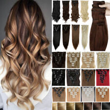 100% Real Natural Hair 8 Pcs 18 Clips Full Head Clip In Hair Extensions Brown F5