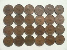 Lot of 24 British Farthing Coins of Great Britain - tweety bird (wren)
