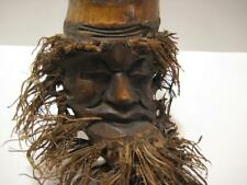 """CARVED BAMBOO CULM ROOT FACE OLD MAN WALL HANGING 13"""" ASIAN CHINESE"""