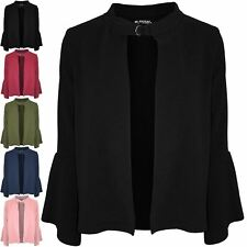 Womens Casual Buckle Open Front Cardigan Ladies Frill Long Sleeve Blazer Jacket