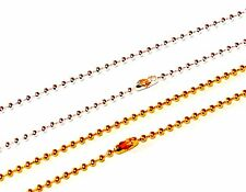 x10, x50 or x100 BRASS BALL NECKLACE CHAINS SILVER / GOLD PLATED 2mm - 18inch