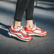 Nike Air Max 98 Sneakers White Red Size 6 7 8 9 Womens Shoes New