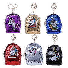 Hot DIY Coin Purse Sequin Unicorn Mini Backpack Shape Pouch Wallet Bag+Key Chain