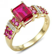 Womens Jewelry Red Ruby 18K Yellow Gold Filled New Wedding Ring Gift Size 6-10